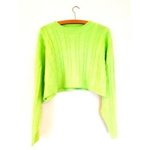 Nasty Gal Cropped Green Sweater